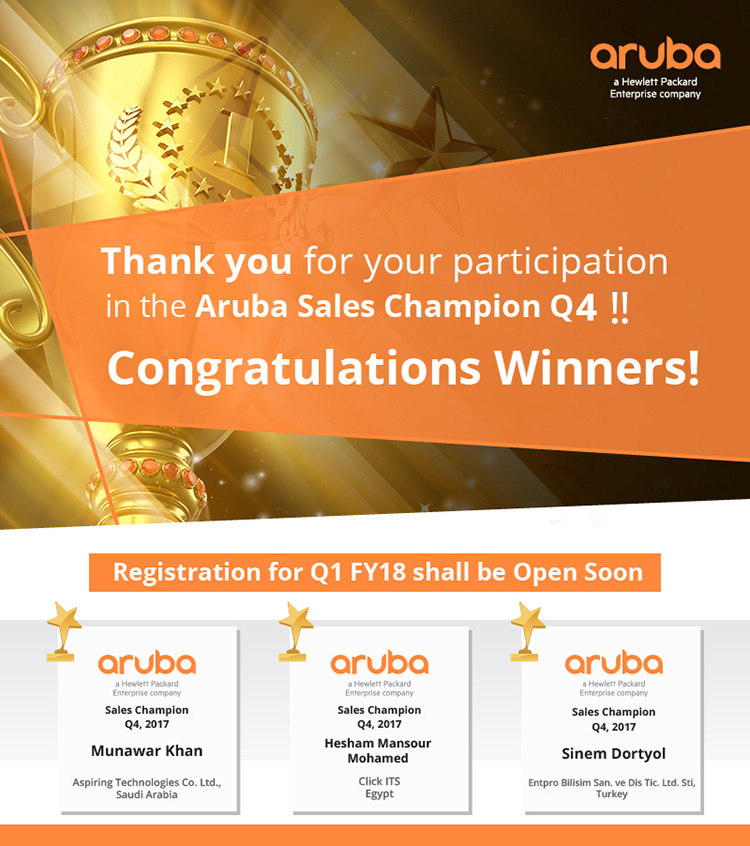 Aruba Sales Champion Q4/2017